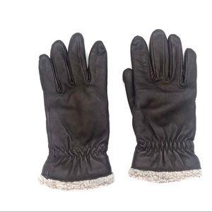 Vintage Black Leather Wool Cuff Biker Gloves